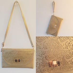 Handbags - Gold Vegan Leather Envelope Purse